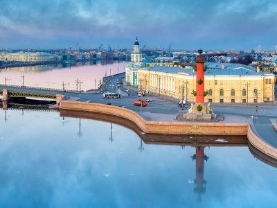 Saint-Petersburg. Russia. Arrow of Vasilevsky view. Embankment of Vasilievsky island in summer. The River Neva. The Palace bridge of St. Petersburg. Cities of Russia. Travel to St. Petersburg.